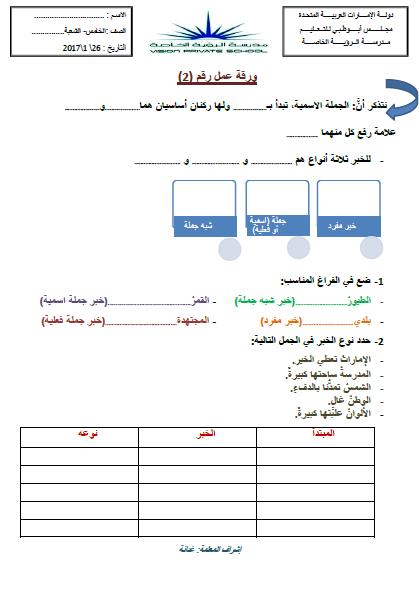 اوراق عمل انواع الخبر في اللغة العربية للصف الخامس الفصل الاول