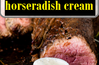 Rosemary-crusted beef fillet with horseradish cream
