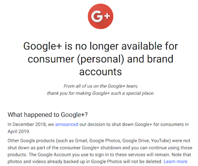 Google+ Plus is no longer available for consumer (personal) and brand accounts