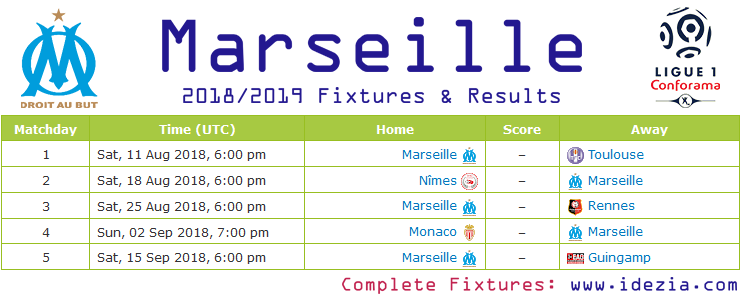 Download Full Fixtures PNG JPG Marseille 2018-2019
