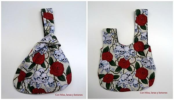 Con hilos, lanas y botones: bolso japonés reversible