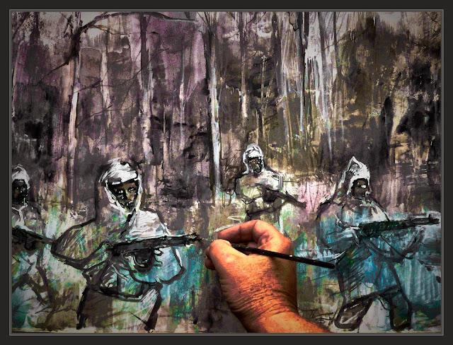 SEGUNDA GUERRA MUNDIAL-WW2-SECOND WORLD WAR-ART-ARTE-PINTURA-PAINTINGS-HISTORIA-HISTORY-RUSIA-RUSSIA-NIEVE-SNOW-SOLDIERS-SOLDADOS-RUSOS-ARTISTA-PINTOR-ERNEST DESCALS