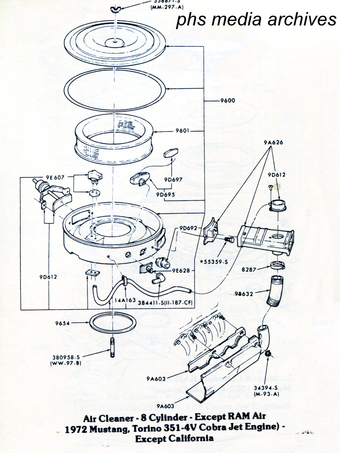 tech series ford mustang air cleaner id guide 1971 1973 1973 Mustang Fastback Mach 1 Interior the 1972 351 4v air cleaner assembly for mustang and torino including the cobrajet model but without ram air note that this does not include california