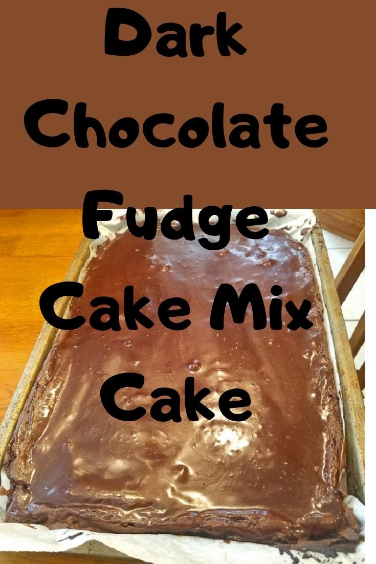 this is a dark chocolate fudge cake made with brownie mix and cake mix together for a decadent fudge frosted topping cake