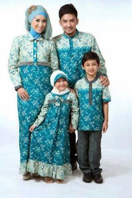 Gambar seragam batik lengan panjang keluarga modis