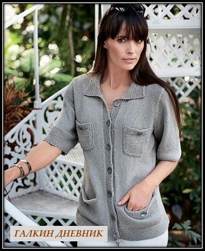 jaket-spicami-s-korotkim-rukavom | strikking | بافندگی | dzianie | tricô | tricotare | การถัก