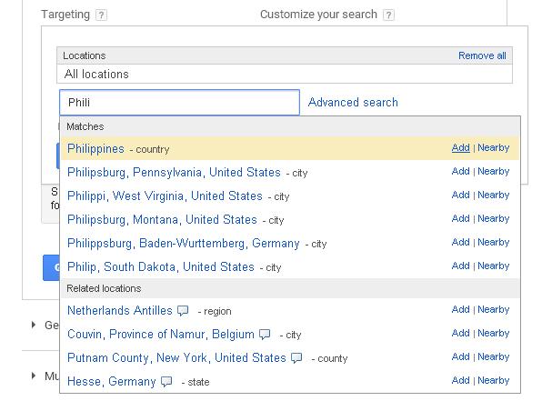 target location - google keyword planner
