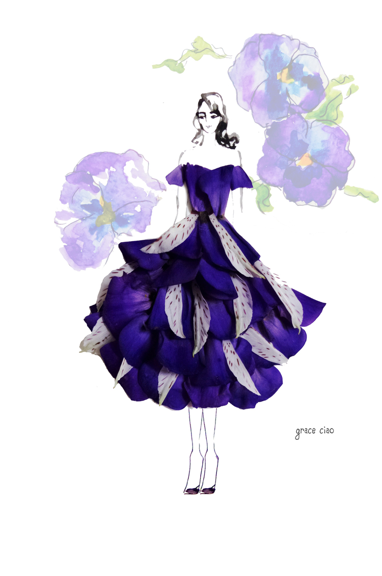 15-Layered-Violet-Dress-Nature-and-Grace-Ciao-Design-and-Draw-Dresses-with-Petals-www-designstack-co