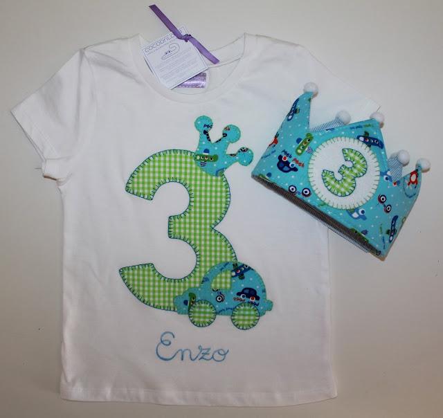 conjunto de cumpleaños camiseta y corona 3 años