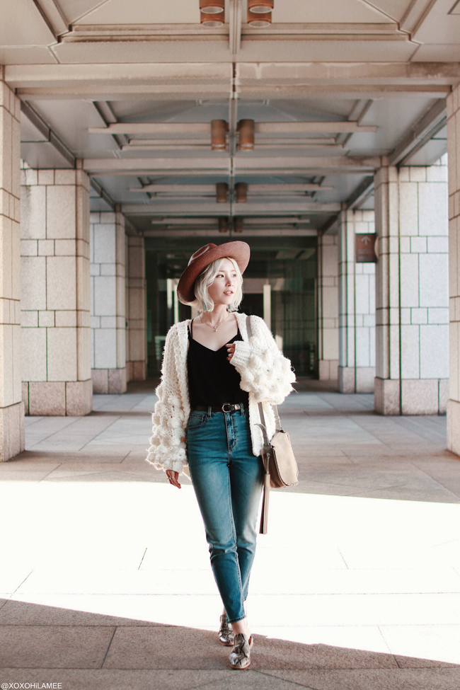 Japanese Fashion Blogger,Mizuho K,20190413OOTD, Chicwish= knit big cardigan, SheIn=lace cami, GU=jeans, slippers, Allsaints=bag, EcuaAndino=hats, 3COINS=earrings,star necklace, Shashi=horn necklace, and more