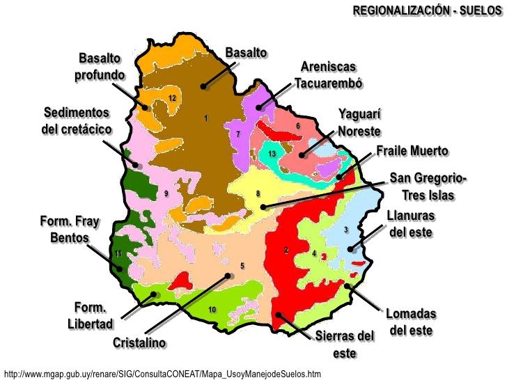 El suelo mapa de zonas de suelos de uruguay for Informacion sobre el suelo