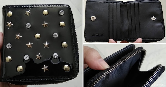 Monki patent leather black wallet studs stars rhinestones coin compartment cards