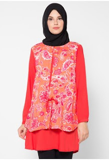 Baju Batik Wanita Kombinasi Muslim