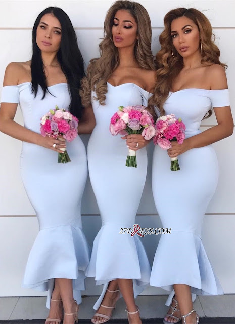 Elegant Sweetheart Off-the-Shoulder Maid Of Hornor Dress | Mermaid Asymmetry Bridesmaid Dresses
