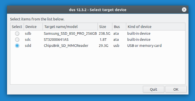 mkusb select device