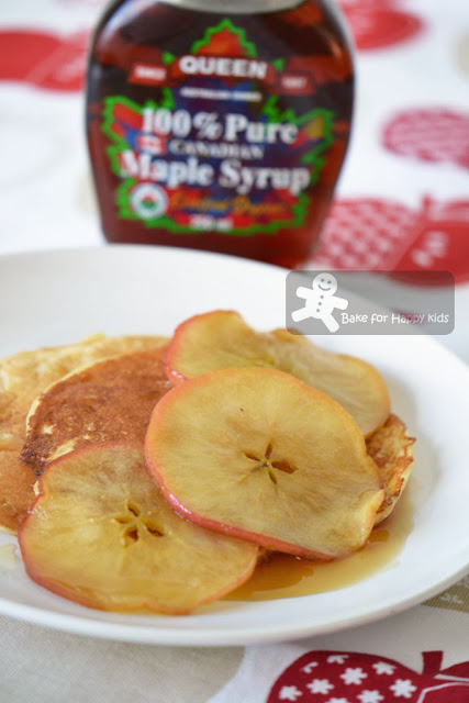 buttermilk pancakes maple syrup glaze apples
