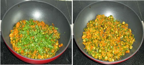 add the cilantro and mix