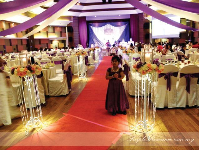 hall, stage, backdrop, decoration, purple theme, wedding, birthday, event, corporate, fairy lighting, logo design, purple chair tie back, satin sashes, kuala lumpur, royal club house, selangor, romantic, modern, indian, chinese, red carpet, aisle, walkway, flower stand, reception table decor, photo album table display decor