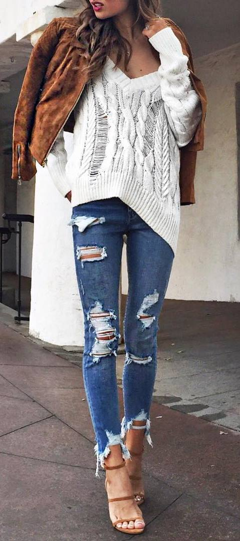 cute outfit: jacket + knit + ripped jeans + heels