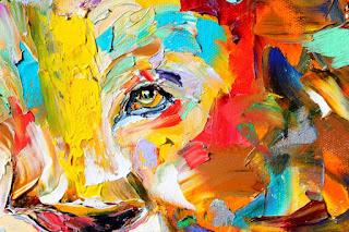 Karen Tarlton Original Oil Painting Lion Abstract Modern