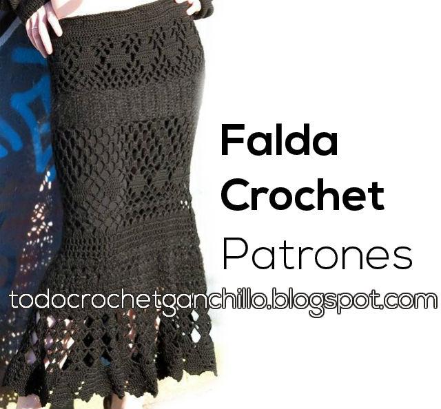 molde y patrones de falda crochet