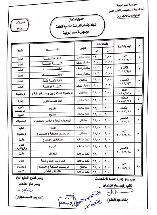 جدول امتحانات الثانوية العامة 2018 النهائى لطلبة علمى وأدبى وتعرف على معلومات مهمة عن أخر تعديل للإمتحان