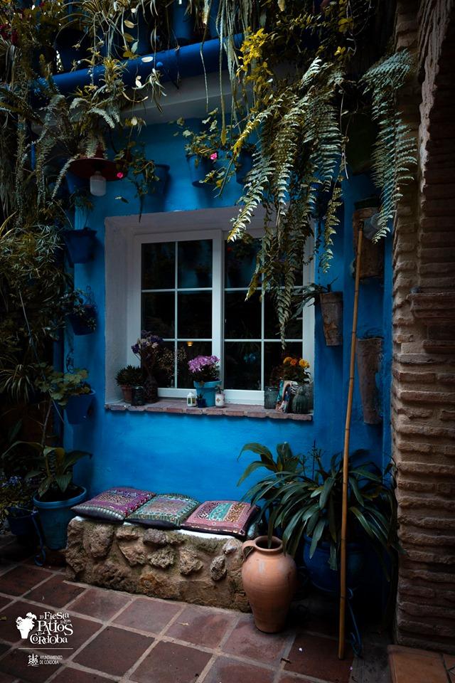patios con pared azul, ventana con macetas, banco de piedra y cojines etnicos, macetas azules con plantas