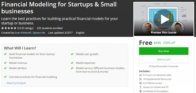 [100% Off] Financial Modeling for Startups & Small businesses| Worth 195$