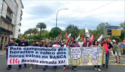 Manifestación do persoal dos bancos o pasado 22 xuño en Santiago