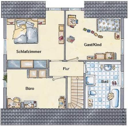 kleines gelbes haus grundriss flair 113. Black Bedroom Furniture Sets. Home Design Ideas