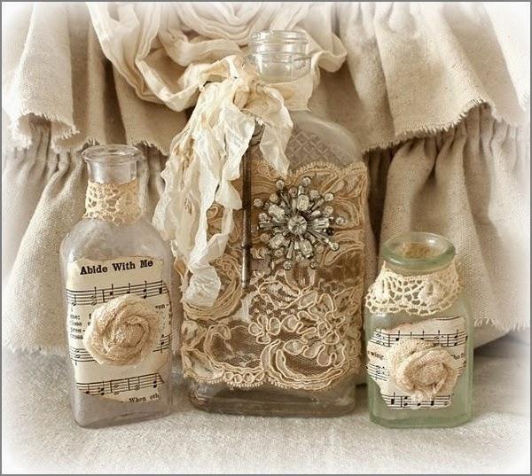 Kerajinan Tangan Dari Botol Bekas - Vas Bunga Burlap  & Lace