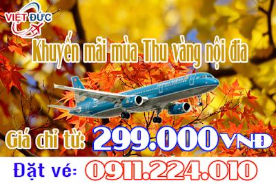đặt vé Vietnam Airlines khuyến mãi mùa Thu vàng nội địa