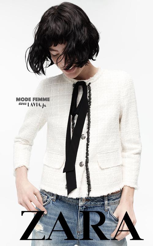 Veste courte bicolore écrue et noire style blazer fantaisie Zara