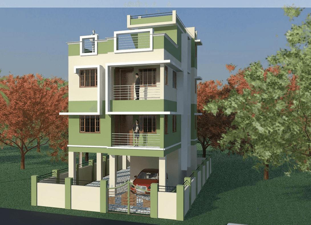 Front Elevation Wallpaper : House front elevation triple story d designe photo