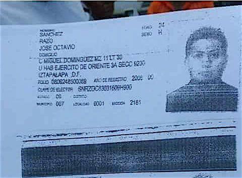 La credencial de elector de Sánchez Razo. FOTO: Especial