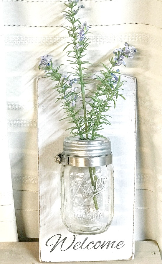 Mason Jar wall vase DIY from thrift store finds