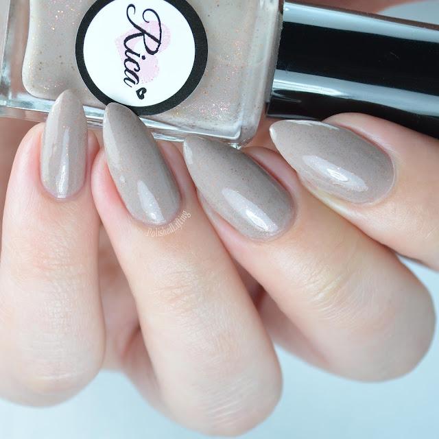 tan nail polish with copper glitter