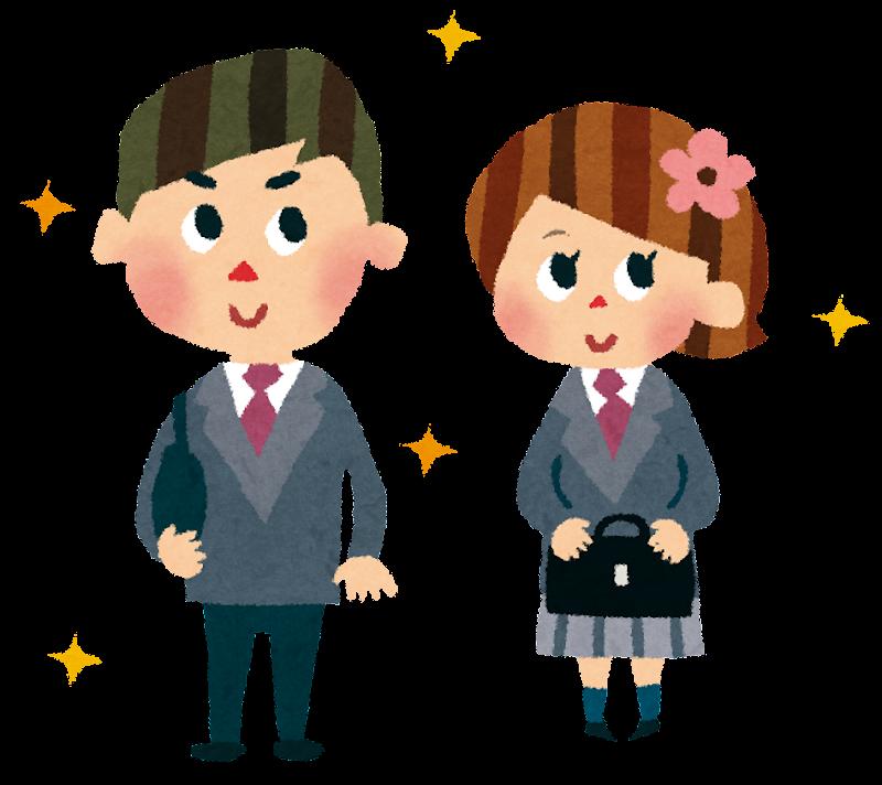 ブレザーを着る女の子と男の子のイラスト