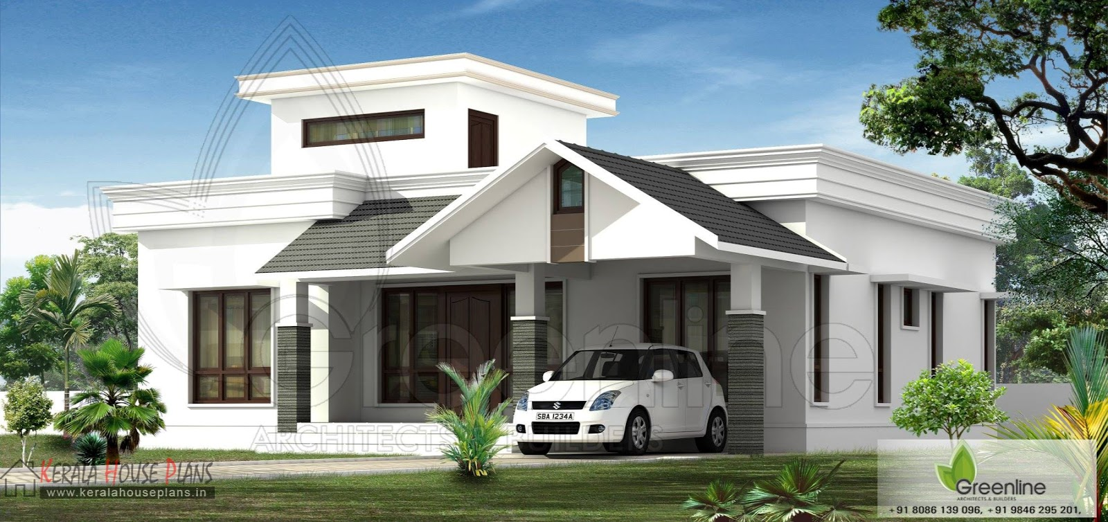 Kerala house Elevation and Photos in 1500 sqft front elevation