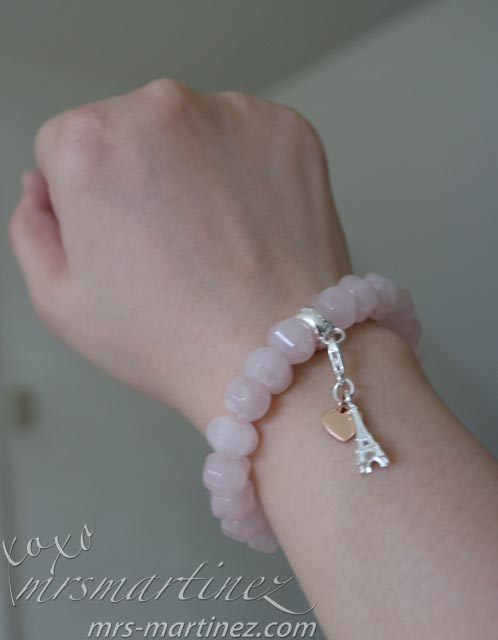 Thomas Sabo Rose Quartz Bracelet With Silver Eiffel Tower