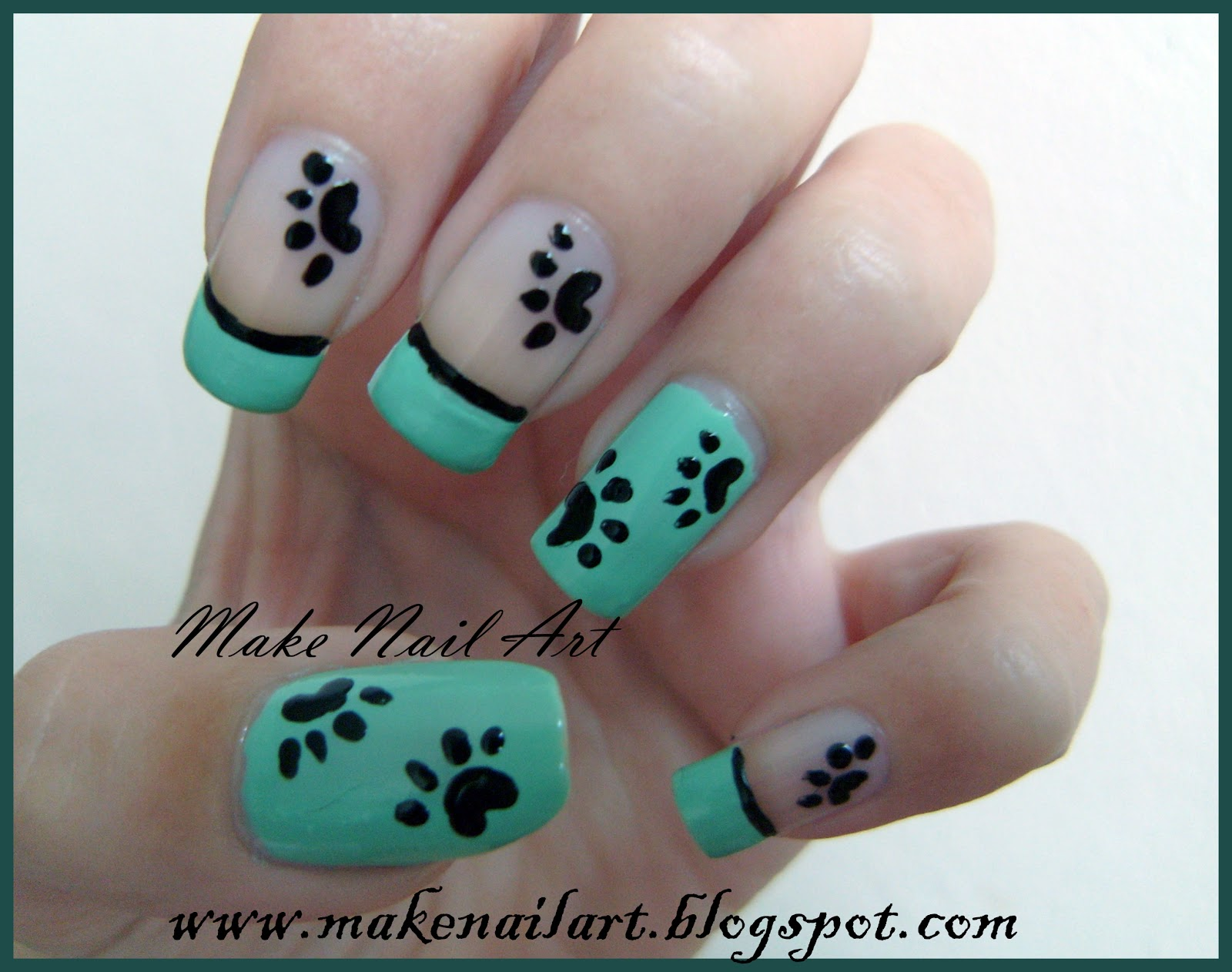 Make nail art simple and cute paws nail art tutorial