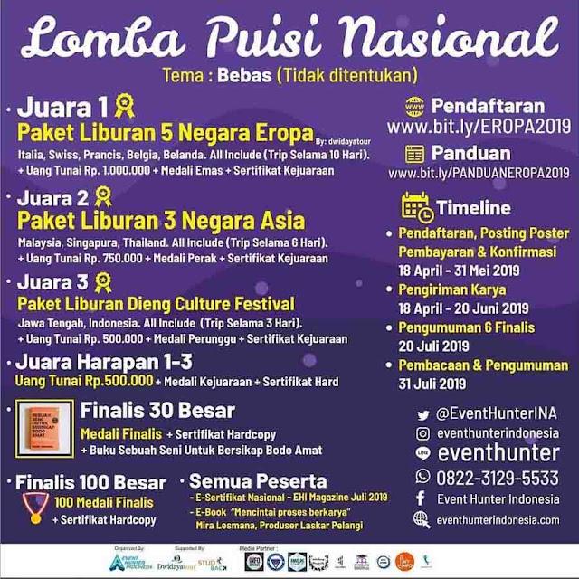 Lomba Puisi Nasional Umum Event Hunter 2019 Hadiah Liburan Keluar Negeri
