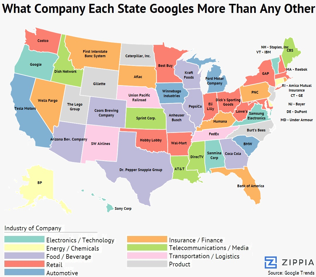 What company each state googles more than any other