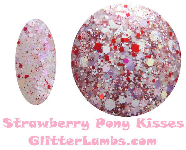 """Glitter Lambs """"Strawberry Pony Kisses"""" Nail Polish has an assorted mix of glitters of white opal iridescent hex, white bows, lavender stars, red and white hex, micro pink hex, micro iridescent glitters, pastel colored hex glitters in blues, yellows, and pink, Pink mini stars, white hearts, white leopard spot glitters, micro holographic burnt amber orange glitters."""