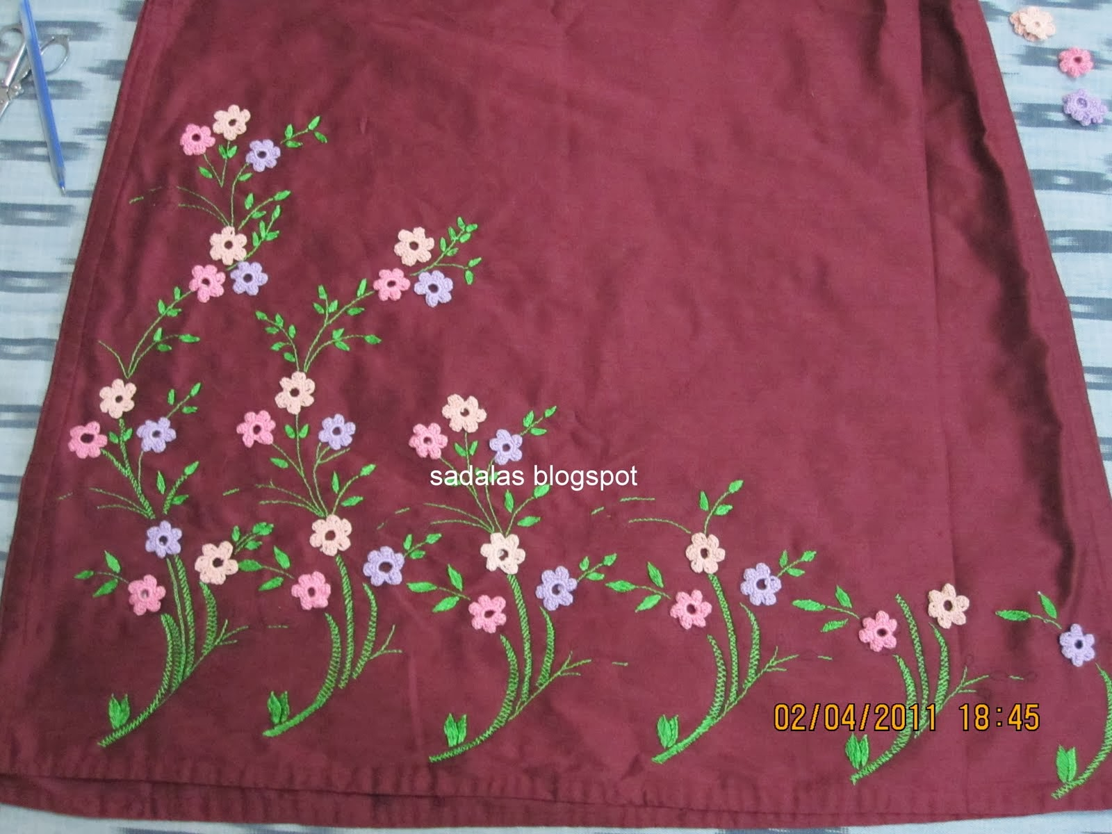 Sadala's embroidery: net work: salwar set.