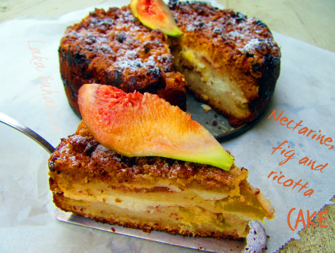Nectarine, fig and ricotta cake by Laka kuharica: moist rustic crumb topped fruit cake for the end of summer.