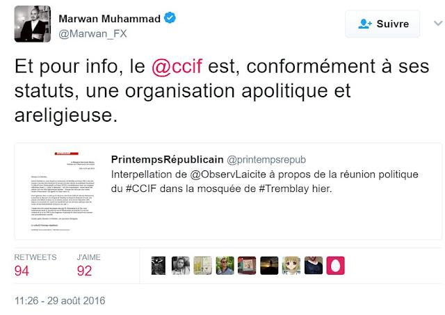 Tweet de Marwan Muhammad, le 29 août 2016