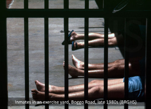 Prisoners relax in a Boggo Road exercise yard, Brisbane, late 1980s