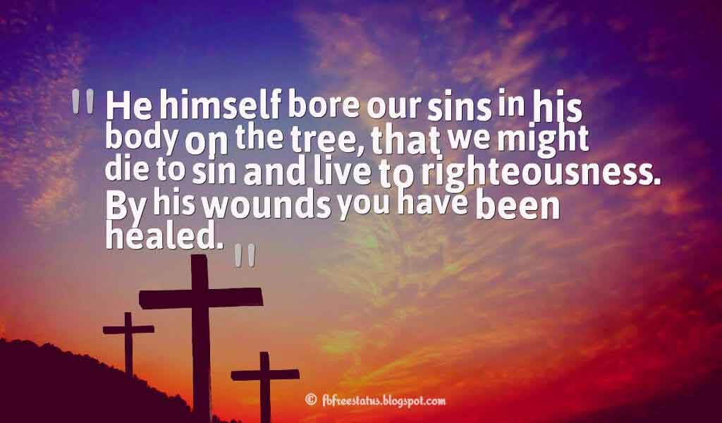 """Who his own self bare our sins in his own body on the tree, that we, being dead to sins, should live unto righteousness: by whose stripes ye were healed."" ― Bible – Peter, 2: 24 ,Quotes about good friday"
