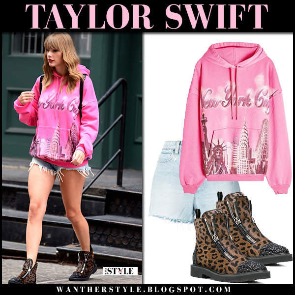 Taylor Swift in pink balenciaga hoodie and frayed denim shorts alexander wang street fashion july 21